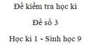 Đề số 3 - Đề kiểm tra học kì 1 - Sinh học 9