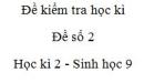 Đề số 2 - Đề kiểm tra học kì 2 - Sinh học 9