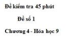 Đề kiểm tra 45 phút (1 tiết) – Đề số 1 – Chương 4 – Hóa học 9
