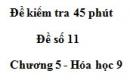 Đề kiểm tra 45 phút (1 tiết) – Đề số 11 – Chương 5 – Hóa học 9