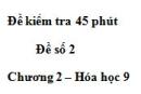 Đề kiểm tra 45 phút (1 tiết) – Đề số 2 – Chương 2 – Hóa học 9