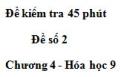 Đề kiểm tra 45 phút (1 tiết) – Đề số 2 – Chương 4 – Hóa học 9
