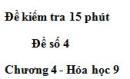 Đề kiểm tra 15 phút – Đề số 4 – Chương 4 – Hóa học 9