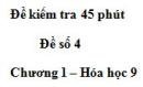 Đề kiểm tra 45 phút (1 tiết) – Đề số 4 – Chương 1 – Hóa học 9