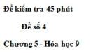 Đề kiểm tra 45 phút (1 tiết) – Đề số 4 – Chương 5 – Hóa học 9