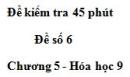 Đề kiểm tra 45 phút (1 tiết) – Đề số 6 – Chương 5 – Hóa học 9