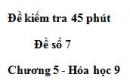 Đề kiểm tra 45 phút (1 tiết) – Đề số 7 – Chương 5 – Hóa học 9