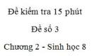 Đề kiểm tra 15 phút - Đề số 3 - Chương 2 - Sinh học 8