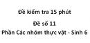 Đề kiểm tra 15 phút - Đề số 11 - Phần Các nhóm thực vật - Sinh 6
