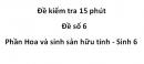 Đề kiểm tra 15 phút -  Đề số 6 - Phần Hoa và sinh sản hữu tính - Sinh 6
