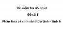 Đề kiểm tra 45 phút - Đề số 1 -  Phần Hoa và sinh sản hữu tính - Sinh 6