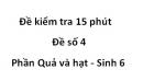 Đề kiểm tra 15 phút - Đề số 4 - Phần Quả và hạt - Sinh 6