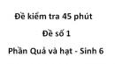 Đề kiểm tra 45 phút - Đề số 1 -  Phần Quả và hạt - Sinh 6