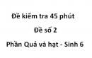 Đề kiểm tra 45 phút - Đề số 2 -  Phần Quả và hạt - Sinh 6