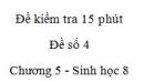 Đề kiểm tra 15 phút - Đề số 4 - Chương 5 - Sinh học 8