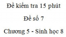 Đề kiểm tra 15 phút - Đề số 7 - Chương 5 - Sinh học 8