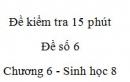 Đề kiểm tra 15 phút - Đề số 6 - Chương 6 - Sinh học 8