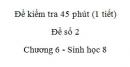 Đề kiểm tra 45 phút (1 tiết) - Đề số 2 - Chương 6 - Sinh học 8