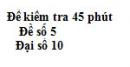 Đề kiểm tra 45 phút (1 tiết) - Chương 2 + 3 - Đề số 1 -  Đại số 10