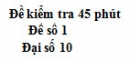 Đề kiểm tra 45 phút (1 tiết) - Chương 1 - Đề số 1 - Đại số 10