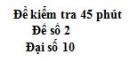 Đề kiểm tra 45 phút (1 tiết) - Chương 1 - Đề số 2 - Đại số 10