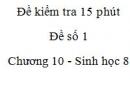 Đề kiểm tra 15 phút - Đề số 1 - Chương 10 - Sinh học 8