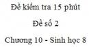 Đề kiểm tra 15 phút - Đề số 3 - Chương 10 - Sinh học 8