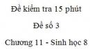 Đề kiểm tra 15 phút - Đề số 3 - Chương 11 - Sinh học 8