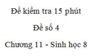 Đề kiểm tra 15 phút - Đề số 4 - Chương 11 - Sinh học 8