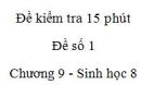 Đề kiểm tra 15 phút - Đề số 1 - Chương 9 - Sinh học 8
