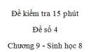 Đề kiểm tra 15 phút - Đề số 4 - Chương 9 - Sinh học 8