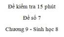 Đề kiểm tra 15 phút - Đề số 7 - Chương 9 - Sinh học 8