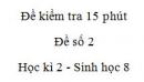 Đề kiểm tra 15 phút - Đề số 2 - Học kì 2 - Sinh học 8