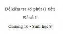 Đề kiểm tra 45 phút (1 tiết) - Đề số 1 - Chương 10 - Sinh học 8