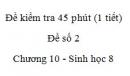 Đề kiểm tra 45 phút (1 tiết) - Đề số 2 - Chương 10 - Sinh học 8