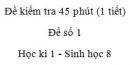 Đề kiểm tra 45 phút (1 tiết) - Đề số 1 - Học kì 1  - Sinh học 8