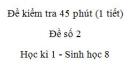 Đề kiểm tra 45 phút (1 tiết) - Đề số 2 - Học kì 1  - Sinh học 8