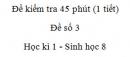 Đề kiểm tra 45 phút (1 tiết) - Đề số 3 - Học kì 1  - Sinh học 8