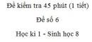 Đề kiểm tra 45 phút (1 tiết) - Đề số 6 - Học kì 1  - Sinh học 8
