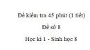 Đề kiểm tra 45 phút (1 tiết) - Đề số 8 - Học kì 1  - Sinh học 8
