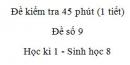 Đề kiểm tra 45 phút (1 tiết) - Đề số 9 - Học kì 1  - Sinh học 8