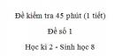 Đề kiểm tra 45 phút (1 tiết) - Đề số 1 - Học kì 2  - Sinh học 8