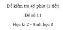 Đề kiểm tra 45 phút (1 tiết) - Đề số 11 - Học kì 2  - Sinh học 8