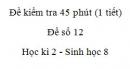 Đề kiểm tra 45 phút (1 tiết) - Đề số 12 - Học kì 2  - Sinh học 8