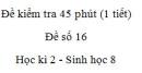 Đề kiểm tra 45 phút (1 tiết) - Đề số 16 - Học kì 2  - Sinh học 8