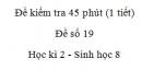 Đề kiểm tra 45 phút (1 tiết) - Đề số 19 - Học kì 2  - Sinh học 8