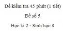 Đề kiểm tra 45 phút (1 tiết) - Đề số 5 - Học kì 2  - Sinh học 8