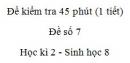 Đề kiểm tra 45 phút (1 tiết) - Đề số 7 - Học kì 2  - Sinh học 8