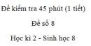Đề kiểm tra 45 phút (1 tiết) - Đề số 8 - Học kì 2  - Sinh học 8