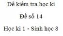 Đề số 14 - Đề kiểm tra học kì 1 - Sinh học 8
